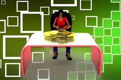 3d Man Coin on Table  Illustration Royalty Free Stock Photography