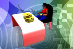 3d Man Coin on Table  Illustration Stock Photo