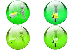 3d man coins in wheelbarrow icon Royalty Free Stock Images