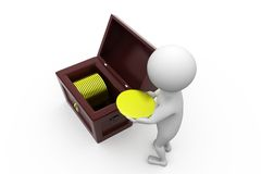 3d man collecting coin concept Royalty Free Stock Photo