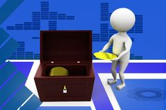 3d man collecting coin illustration Royalty Free Stock Photos