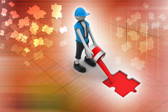 3d Man  color pouring the puzzle Stock Image