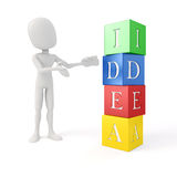 3d man and colorful blocks with IDEA text. 3d man and blocks with IDEA text stock illustration