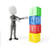 3d man and colorful blocks with IDEA text. 3d man and blocks with IDEA text royalty free illustration