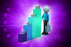3d man with colorful business graph Stock Photo