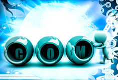 3d man .com text and  sphere illustration Stock Image