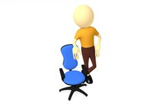3d man with comfortable computer chair Stock Photos