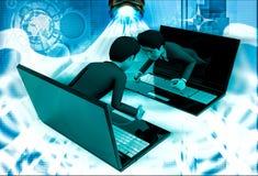 3d man coming through laptop screen illustration Royalty Free Stock Photo