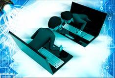 3d man coming through laptop screen illustration Royalty Free Stock Images