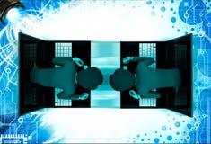 3d man coming through laptop screen illustration Stock Images
