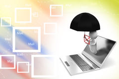 3d Man Coming out from a laptop with messages Stock Image