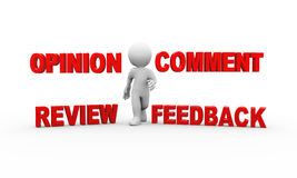 3d man with comment feedback opinion Royalty Free Stock Photos