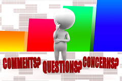 3d Man Comments, Concerns, Problems and Complaints Illustration Stock Image