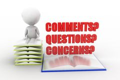 3d man comments questions concerns Royalty Free Stock Image