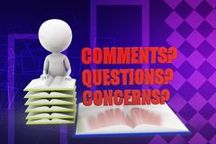 3d man comments questions concerns illustration Stock Photography