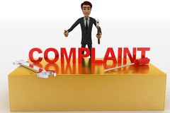 3d man with complaint text and wrench concept Royalty Free Stock Photo