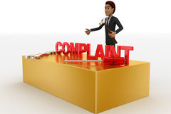 3d man with complaint text and wrench concept Royalty Free Stock Images