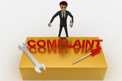 3d man with complaint text and wrench concept Royalty Free Stock Photography