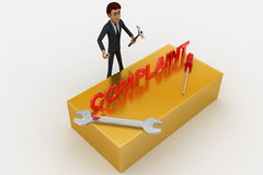 3d man with complaint text and wrench concept Stock Photos