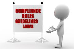 3d man Compliance, Rules, Regulations and Guidelines Stock Photo