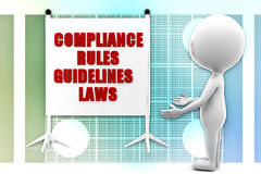 3d man Compliance, Rules, Regulations and Guidelines illustration Royalty Free Stock Images