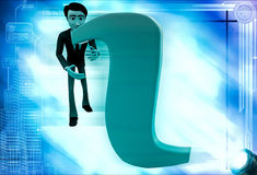 3d man confused with info symbol illustration Royalty Free Stock Photo