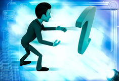 3d man confused with info symbol illustration Royalty Free Stock Image