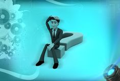 3d man confused and sitting on question mark illustration Stock Images