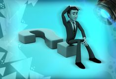 3d man confused and sitting on question mark illustration Stock Photo