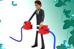 3d character connecting plug illustration Stock Photos