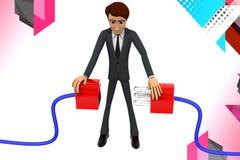 3d man connect plug illustration Stock Photo