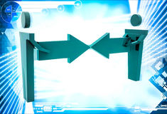 3d man connect two arrows illustration Stock Image