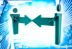 3d man connect two arrows illustration Royalty Free Stock Image