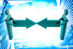 3d man connect two arrows illustration Royalty Free Stock Images