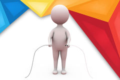 3d man connect wire illustration Stock Photo