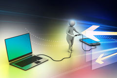 3d man connecting laptop and mobile Royalty Free Stock Photo
