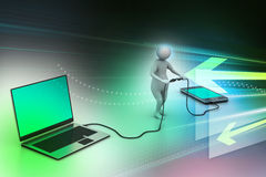 3d man connecting laptop and mobile Stock Images