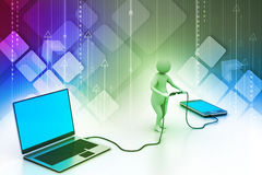 3d man connecting laptop and mobile Stock Image