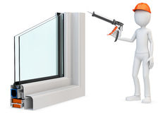 3d man Construction worker with a caulking gun and window profil Stock Photography