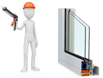 3d man Construction worker with a caulking gun and window profil Royalty Free Stock Images