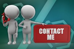 3d man contact me illustration Stock Photos