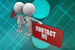 3d man contact me illustration Stock Image