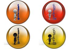 3D Man contact us concept icon Stock Image