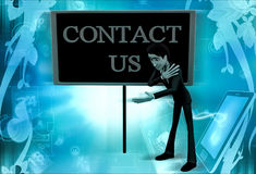 3d man contact us concept Stock Images
