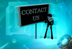 3d man contact us concept Stock Photos