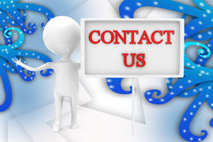 3d man contact us illustration Royalty Free Stock Image
