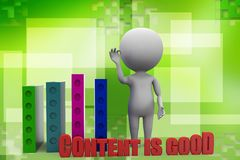 3d man - Content Is Good Illustration Stock Photography