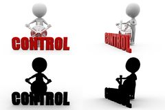 3d man control Concept Collections With Alpha And Shadow Channel Stock Images