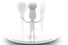 3d man cook with spoon concept Royalty Free Stock Photography