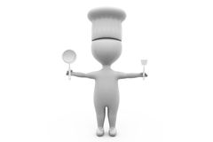 3d man cook with spoon concept Stock Image